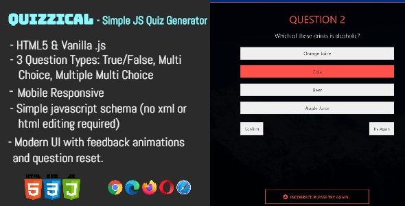 Quizzical - The Javascript HTML Quiz Generator