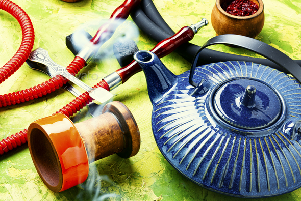 Arabic shisha with teakettle - Stock Photo - Images