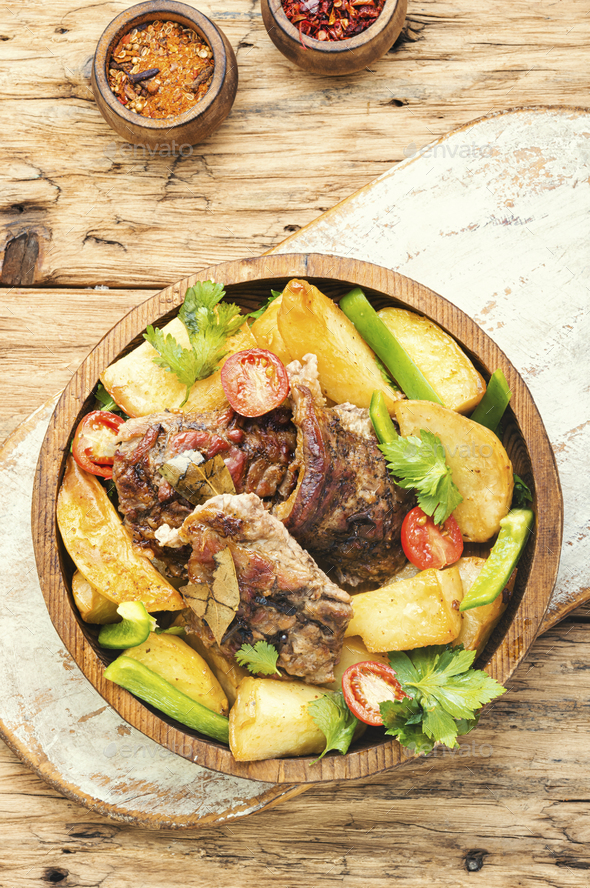Grilled meat and potatoes - Stock Photo - Images