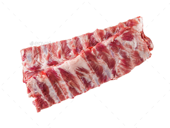 Isolated image of raw pork ribs on white background, top view - Stock Photo - Images