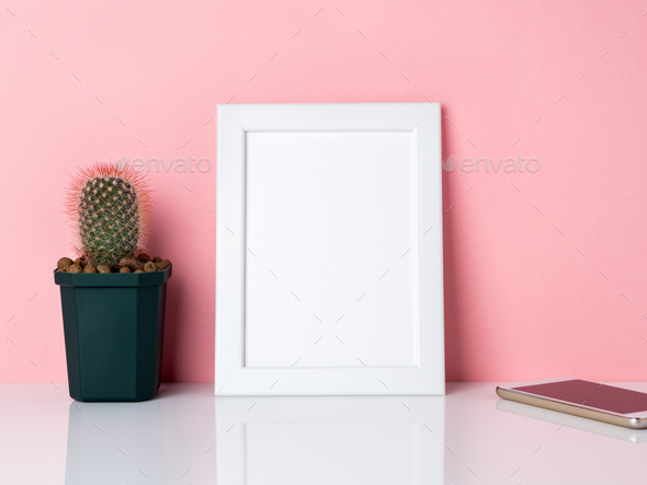 Blank white frame and plantpy space. - Stock Photo - Images