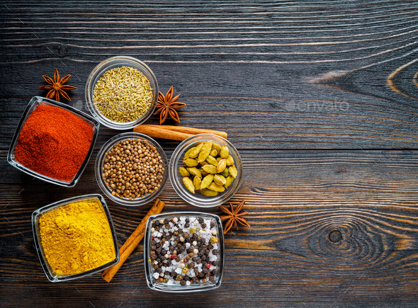 Set of spices on a dark brown - Stock Photo - Images