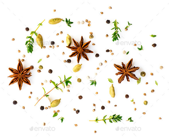 Set of spices on white background, top view. aromatic seasonings with anise and cardamom - Stock Photo - Images
