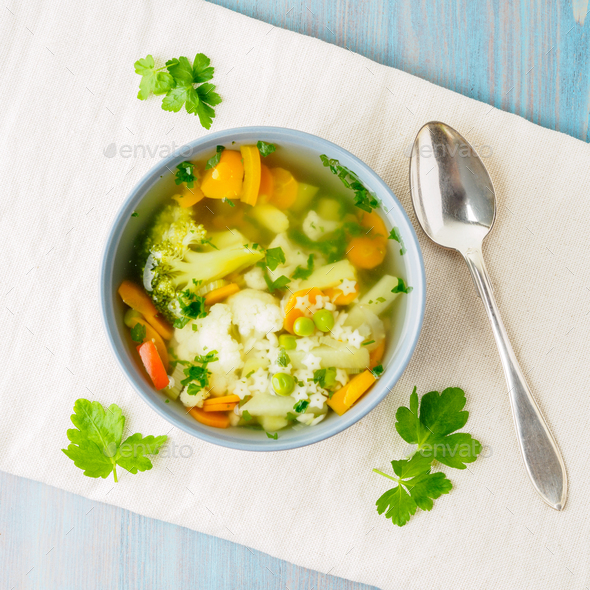 Bright spring vegetable dietary vegetarian soup - Stock Photo - Images