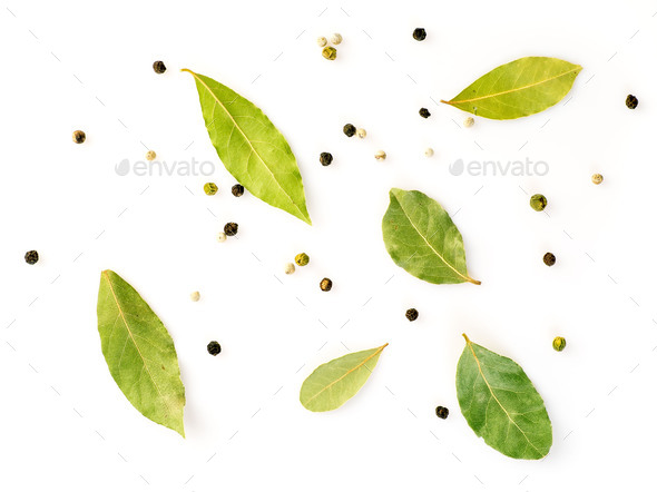 Set of spices on white background, top view. Seasonings for meat broth - Stock Photo - Images
