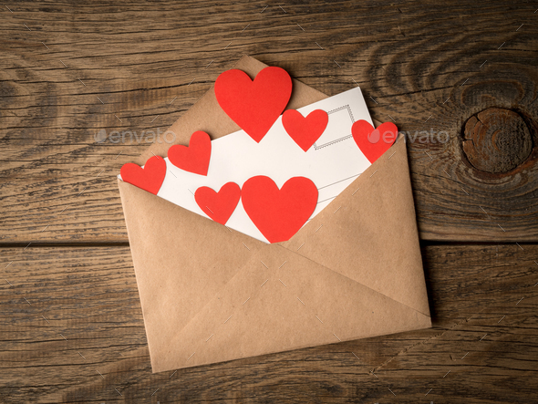 card and red hearts - Stock Photo - Images