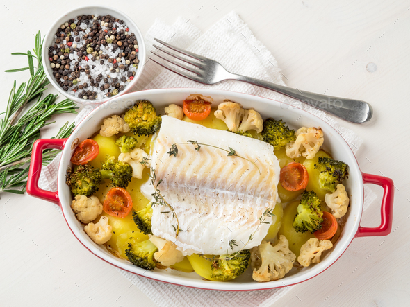 Fish cod baked in the oven - Stock Photo - Images
