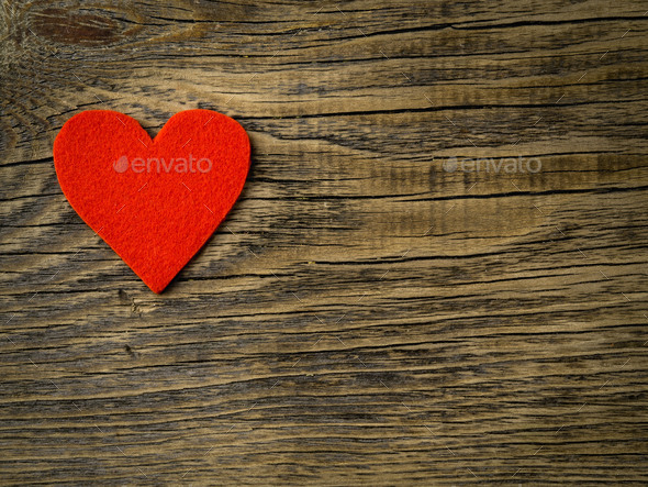 single bright red heart - Stock Photo - Images