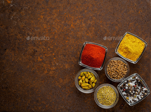 Mix spices on a dark - Stock Photo - Images