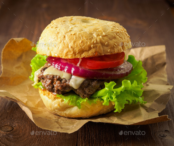 Big delicious homemade burger - Stock Photo - Images