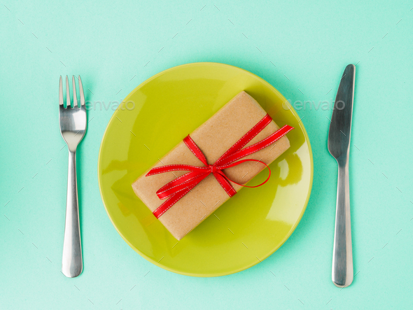 gift, pack of Kraft brown paper - Stock Photo - Images