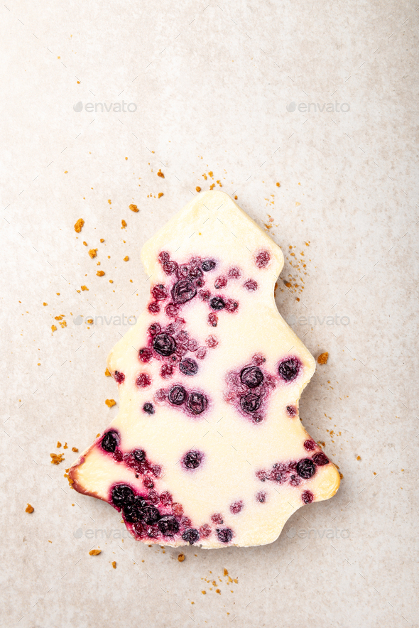 Winter Christmas Tree Cheesecake with cranberry jam - Stock Photo - Images