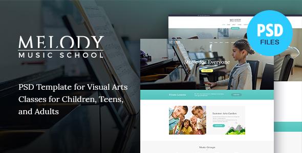 Melody | Music School PSD Template