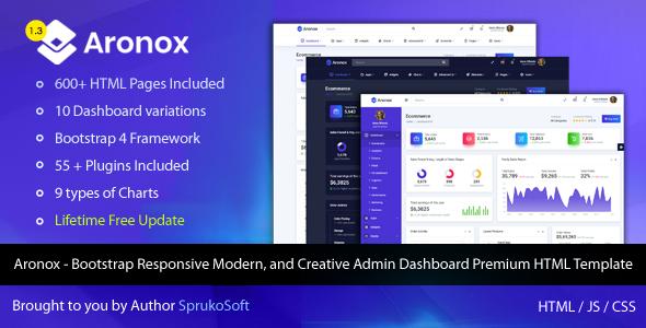 Aronox - Bootstrap Responsive Modern, and Creative Admin Dashboard Premium HTML Template by SprukoSoft