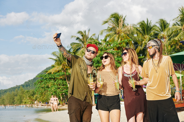 Friends talking selfie on beach - Stock Photo - Images