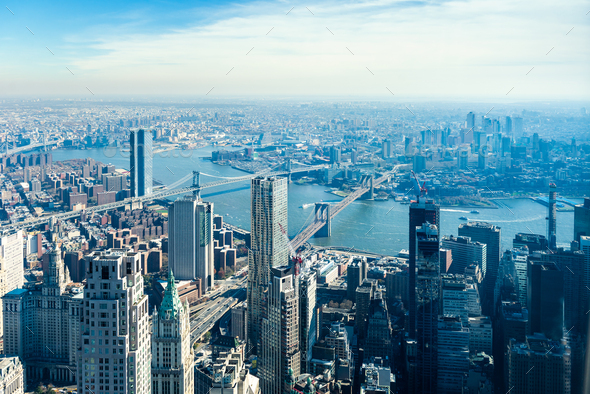 Amazing panorama view on New York City skyline and Brooklyn Bridge - Stock Photo - Images