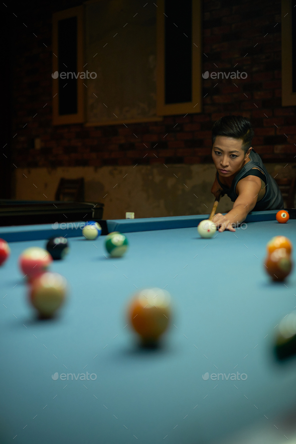 Playing snooker - Stock Photo - Images