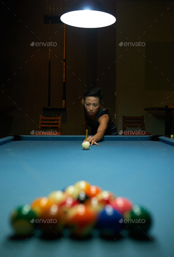Playing billiard - Stock Photo - Images