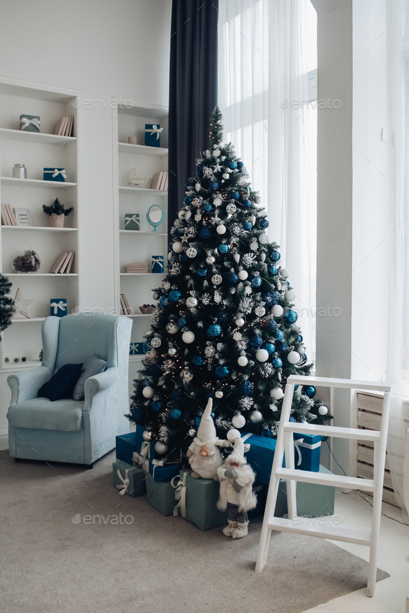 Beautiful room with Christmas decorations. Christmas holidays - Stock Photo - Images