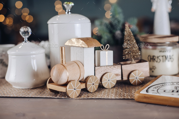 Toy wooden locomotive with New Year gifts - Stock Photo - Images