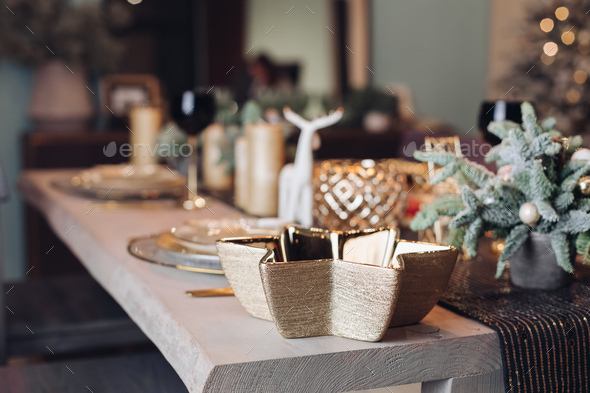 Beautiful table is setting for Christmas dinner - Stock Photo - Images