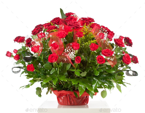 Basket with fifty red roses - Stock Photo - Images