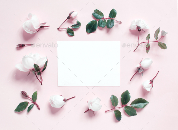Placeit – Flowers and paper on a light pink background - Stock Photo - Images