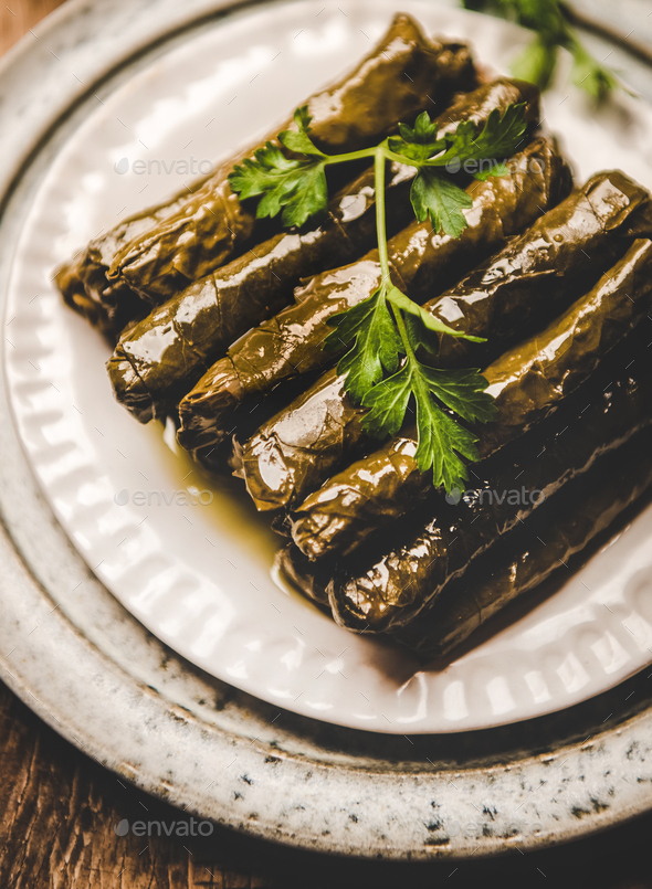 Turkish traditional Sarma or Dolma with rice and spices - Stock Photo - Images