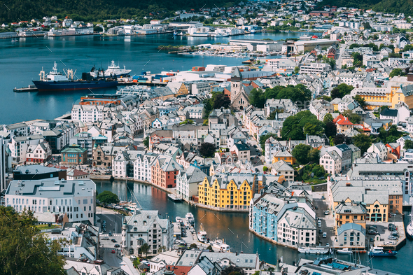 Alesund, Norway. View Of Alesund Skyline Cityscape. Historical Center In Summer Sunny Day. Famous - Stock Photo - Images