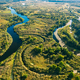 Aerial View Green Forest Woods And River Landscape In Sunny Summer Day. Top View Of Beautiful - PhotoDune Item for Sale