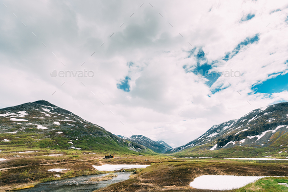 Reinheimen National Park, Norway. Mountains Landscape In Early Summer. Mountain Range In One Of The - Stock Photo - Images