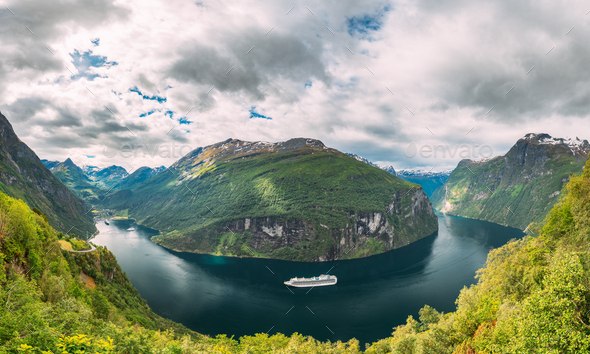 Geirangerfjord, Norway. Touristic Ship Ferry Boat Cruise Ship Liner Floating Near Geiranger In - Stock Photo - Images