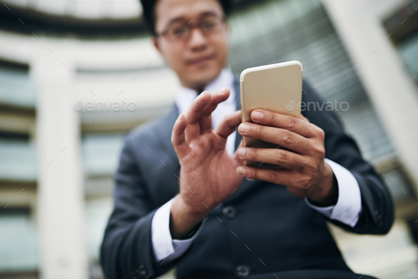 Using mobile app - Stock Photo - Images