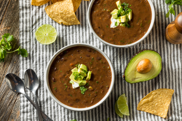 Homemade Organic Black Bean Soup - Stock Photo - Images