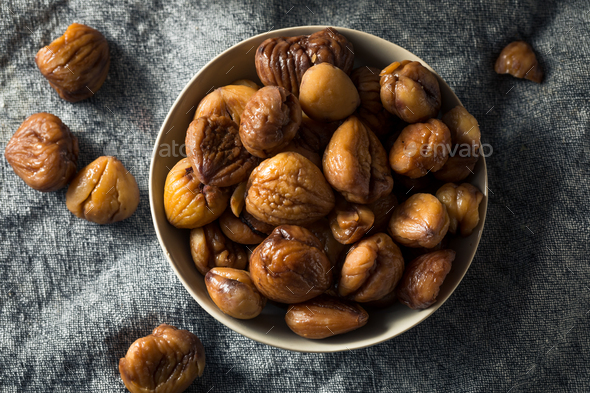 Organic Shelled Roasted Chestnuts - Stock Photo - Images