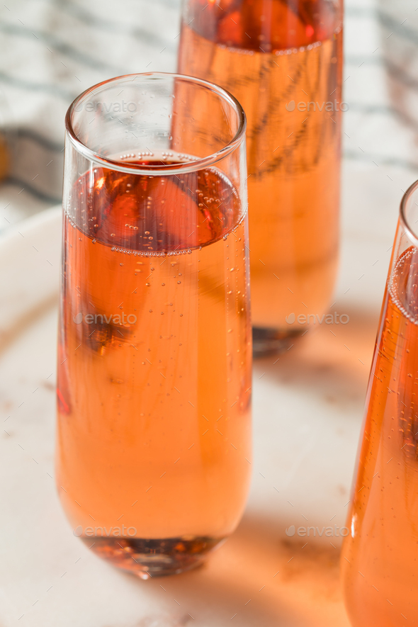 Sparkling Red Rose Champagne - Stock Photo - Images