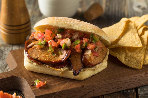 Spicy Homemade Chorizo Sandwich - Stock Photo - Images