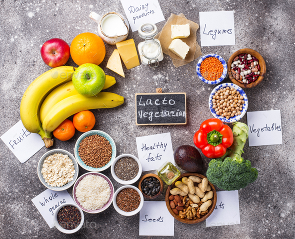 Lacto vegetarian diet concept. Healthy food - Stock Photo - Images