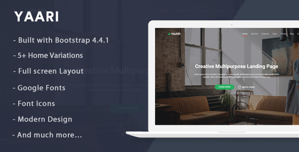 Yaari - Landing Page Template by themesdesign