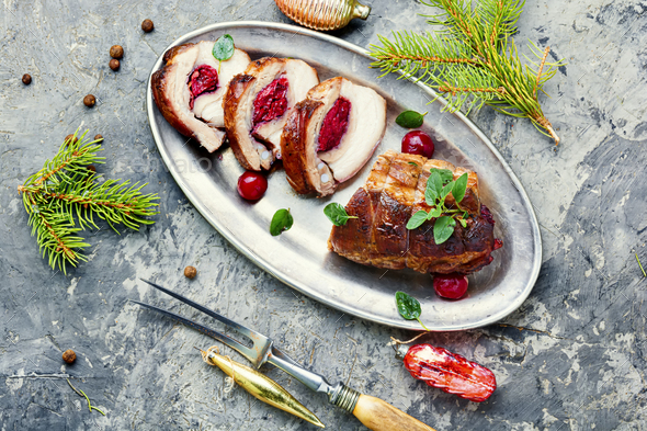 Christmas meatloaf with cherry - Stock Photo - Images