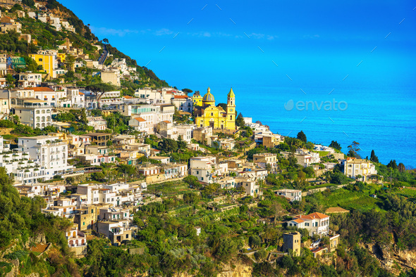 Praiano town in Amalfi coast, panoramic view. Italy - Stock Photo - Images