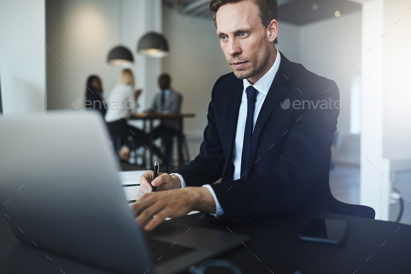 Businessman working on a laptop in his office - Stock Photo - Images