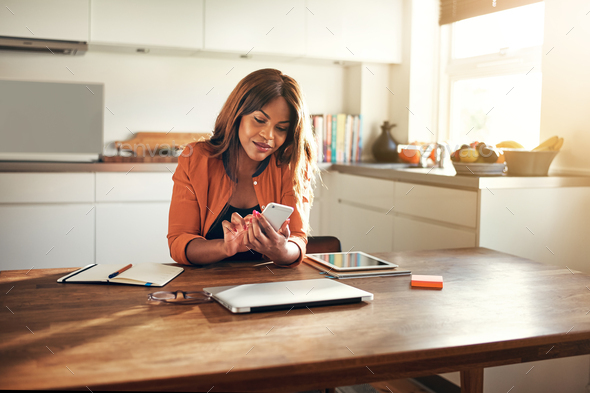 Smiling young entrepreneur reading messages while working in her kitchen - Stock Photo - Images