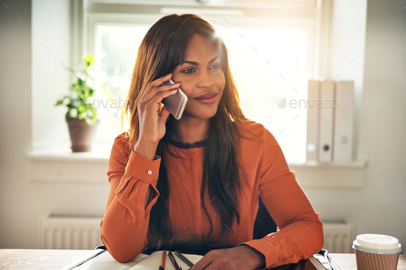 Smiling entrepreneur talking on a cellphone in her home office - Stock Photo - Images