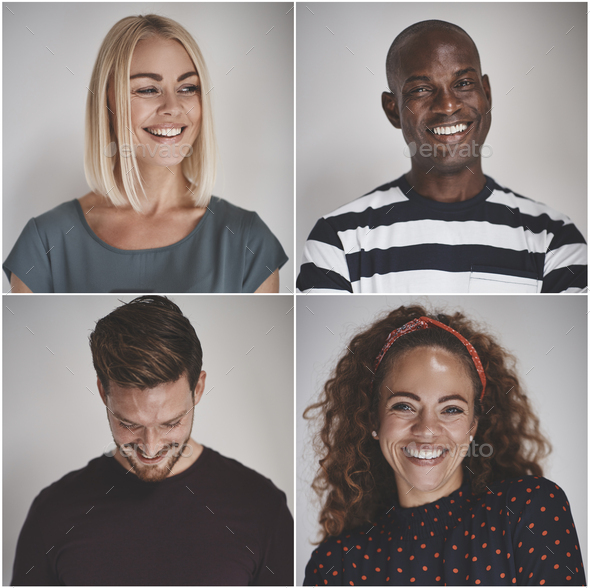 Collage of a group of diverse entrepreneurs smiling - Stock Photo - Images
