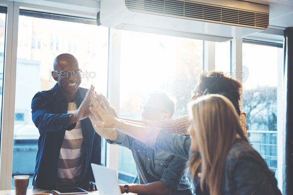 Group of celebrating business partners - Stock Photo - Images