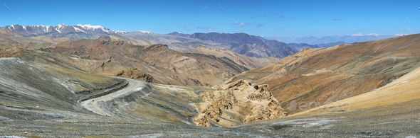 View of hairpin turns and mountains in Taglang La pass, Ladakh, India - Stock Photo - Images