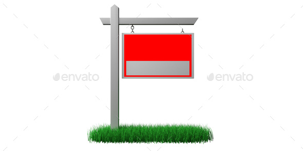 Real estate sign mockup on grass red color isolated on white, copy space. 3d illustration - Stock Photo - Images