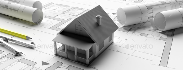 House model on blueprints background, engineer contractor office. 3d illustration - Stock Photo - Images