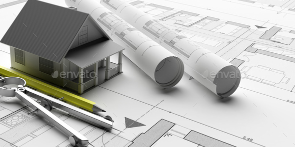 House Model On Blueprints Background Engineer Contractor Office